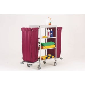 Maid service trolleys with burgundy bags
