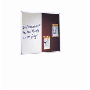 Wall mounted aluminium frame combination felt noticeboard and whiteboard unit