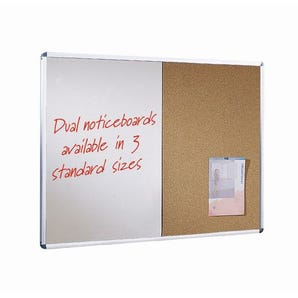 Wall mounted aluminium frame combination cork noticeboard and whiteboard unit