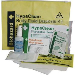 Single use body fluid spill kit