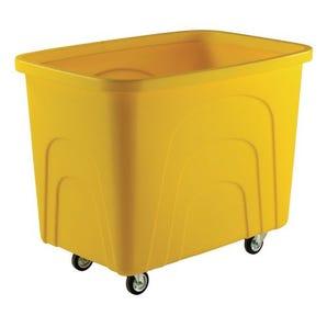 Robust rim nesting container trucks, yellow castors corner pattern