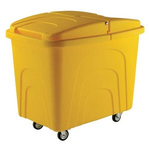 Robust rim nesting container trucks, with lids, yellow castors  in  corner pattern