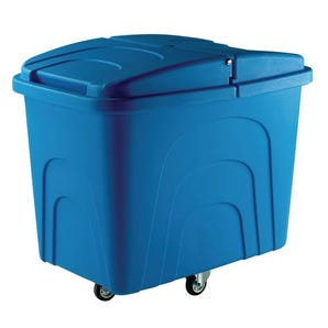 Robust rim nesting container trucks, with lids, blue castors in diamond pattern