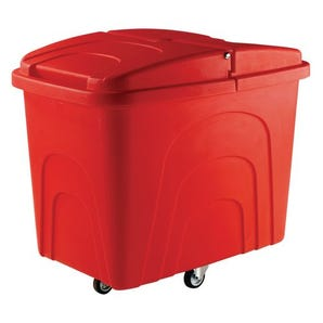 Robust rim nesting container trucks, with lids, red castors in diamond pattern