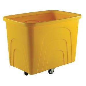 Robust rim nesting container trucks, yellow castors in diamond pattern