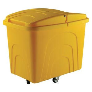 Robust rim nesting container trucks, with lids, yellow castors in diamond pattern