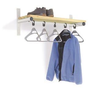 Probe wall mounted shelf and coat rail - silver