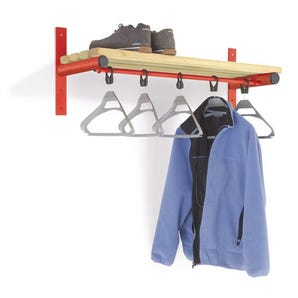 Probe wall mounted shelf and coat rail - red