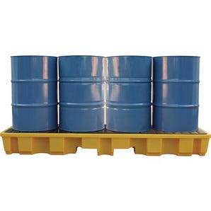 Four drum in-line sump pallet - Yellow