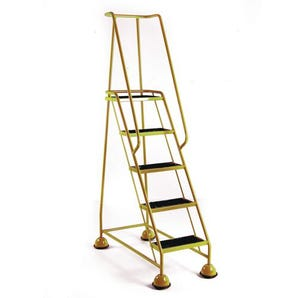 Economy cup steps with full handrail 5 tread in yellow