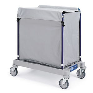 Side opening linen trucks with plastic coated bags, 300litres with lid