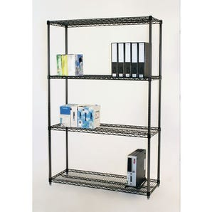 Black anodised wire shelving - 350kg - 1220mm wide