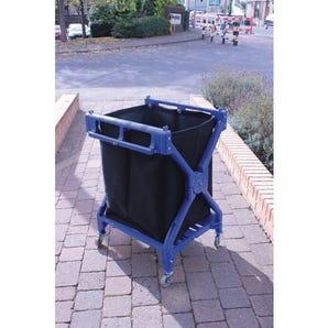 Folding laundry trolley with heavy duty canvas bag