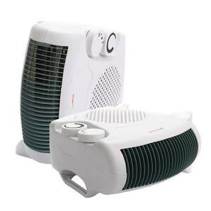 Dual position fan heater/cooler