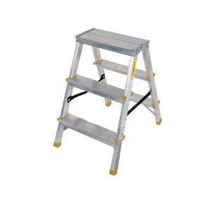 Double sided aluminium steps, 3 treads