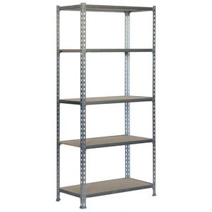 Steel boltless shelving kits with chipboard shelves - 150kg capacity