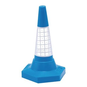 Coloured cones with reflective sleeves, 75cm high blue