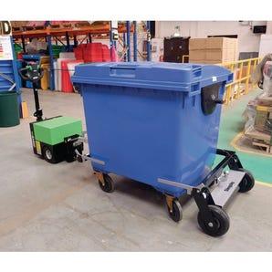 Wheeled bin towing frame