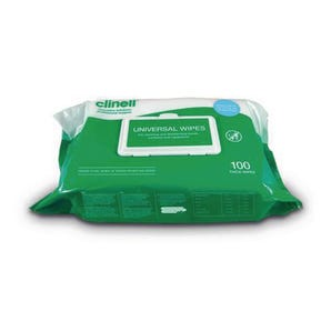 Clinell universal hand and surface wipes, pack of 100