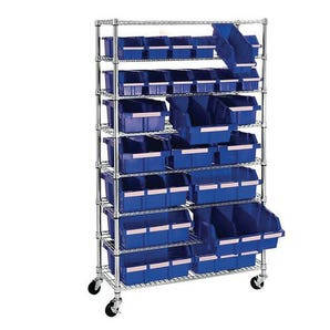 Mobile wire-shelf bin rack kit