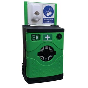 SafetyHub mobile hand sanitising station with lockable cabinet
