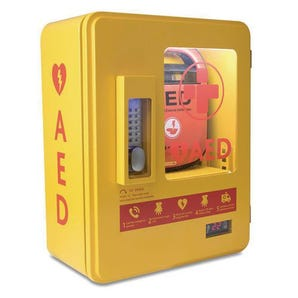Heated outdoor alarmed AED cabinet