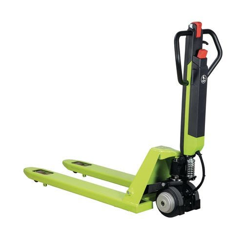 Compact quick-lift semi-electric pallet truck with charger