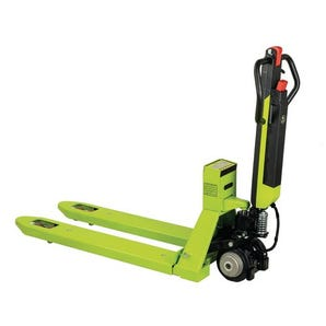 Compact semi-electric pallet truck with weigh scales
