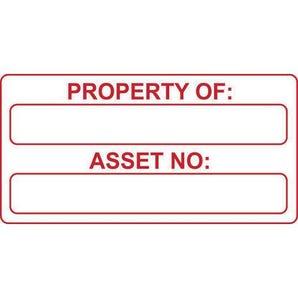 Property of:/asset no: labels