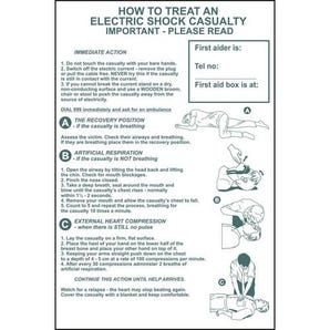 How to treat an electric shock casualty sign