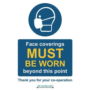 Face coverings must be worn beyond this point sign
