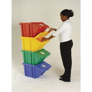 Coloured recycling bin system