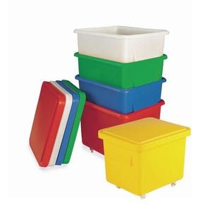90 Litre tapered plastic container trucks with lids