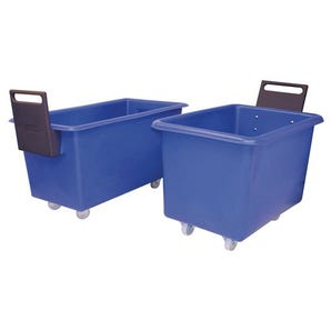Nesting plastic container trucks with handles