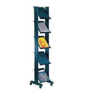 Narrow mobile literature display shelving unit