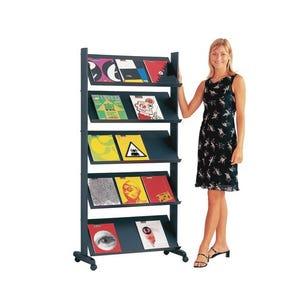 Standard mobile literature display shelving unit