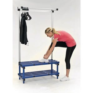Plastic cloakroom and changing room - Cloakroom bench with hangers