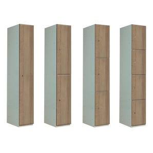Timber door lockers - Medium oak