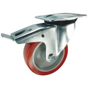 Nylon centre, polyurethane tyred wheel, plate fixing - swivel with total-stop brake