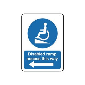 Disabled ramp access this way arrow left sign