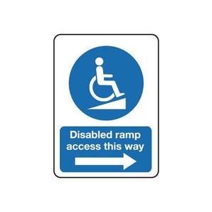 Disabled ramp access this way arrow right