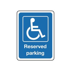 Reserved disabled parking sign - white text on blue