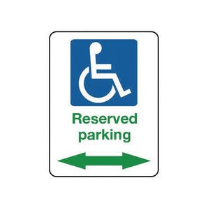 Reserved disabled parking arrow left/right