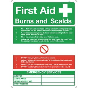 Resuscitation and first aid posters - First aid - burns and scalds