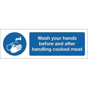 Food processing and hygiene signs - Wash your hands before and after handling cooked meat