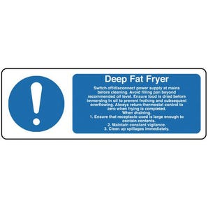 Food processing and hygiene signs - Deep fat fryer