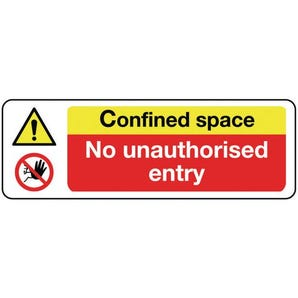 Machinery hazard signs - Confined space no unauthorised entry