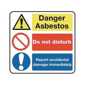 Asbestos acm's - Danger asbestos do not disturb  report accidentaldamage immediately