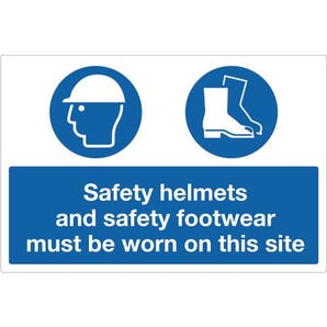 Personal protection signs - Safety helmets and safety footwear must be worn on this site