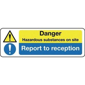 Multi-purpose hazard signs - Danger hazardous substances on site report to reception
